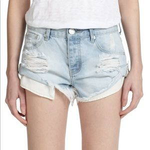 One Teaspoon Distressed Light Wash Bandits Shorts